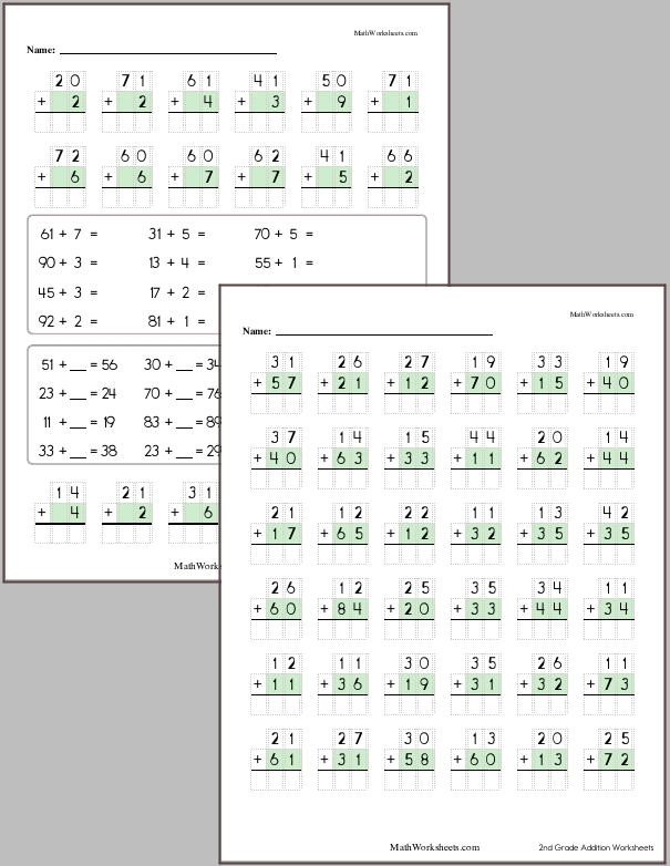 Addition Worksheets for 2nd Graders   Free with No Login ...